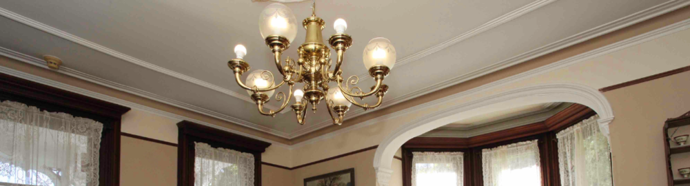 Victorian Light Fixture and Victorian Architectural Details in The Grand Dutchess