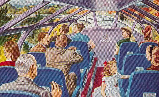 Postcard depiction of the Vista Dome car of the Chessie.