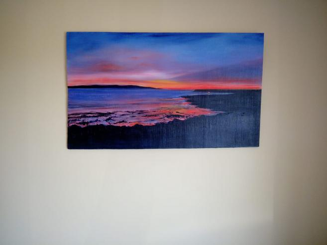 View from between Silver Strand and Barna overlooking Galway Bay towards the Aran Islands 2020 50x90cm acrylic on wood Cornamona Collection by Orfhlaith Egan Berlin