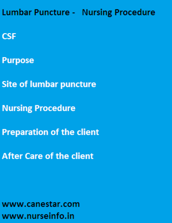 lumbar purpose, purpose, site and procedure