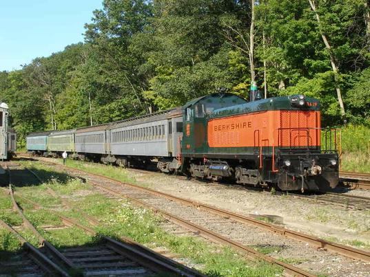 The Berkshire Scenic train in the yard prior to leaving for Lenox Station to pick up passengers.