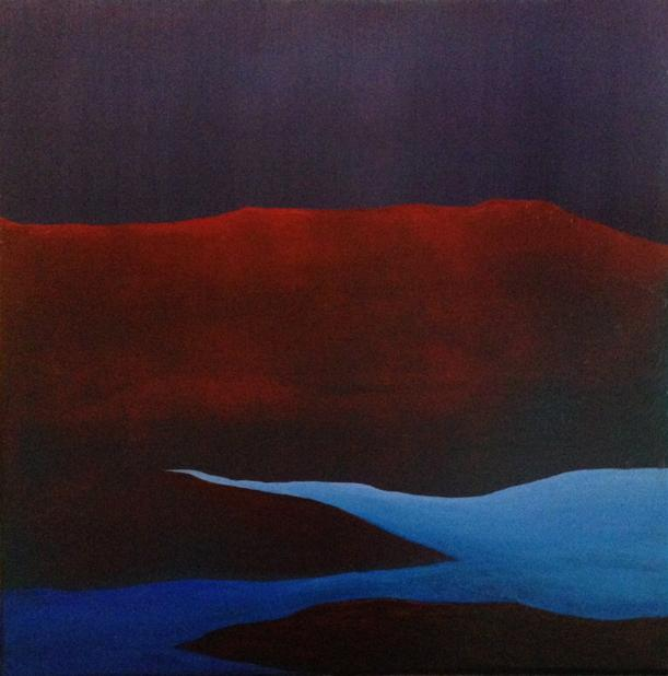 Red Earth 2018. 40x40cm. Acrylic on canvas. Reimagined landscape painting by Irish artist Orfhlaith Egan. Berlin, Germany.