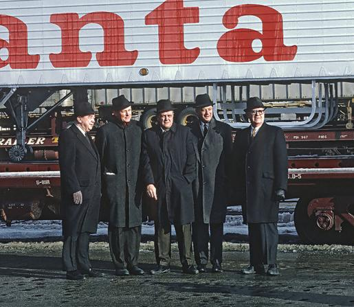 John Shedd Reed (2nd from left), President of the Santa Fe Railway, Chicago, Illinois, January 17, 1968. Photo by Roger Puta