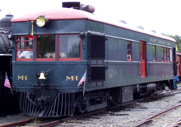 East Broad Top No. M1, a narrow gauge gas-electric doodlebug that was constructed by EBT from a Brill manufactured kit.