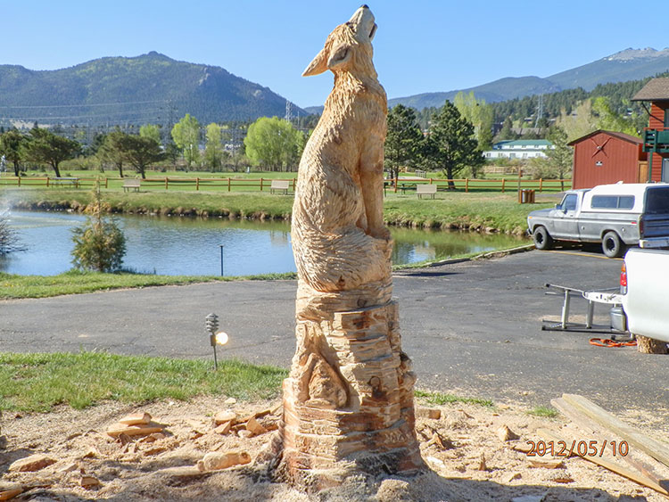Custom chainsaw carving of wolves