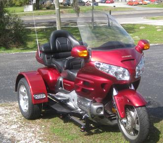 A motorcycle with a Honda trike conversion kit