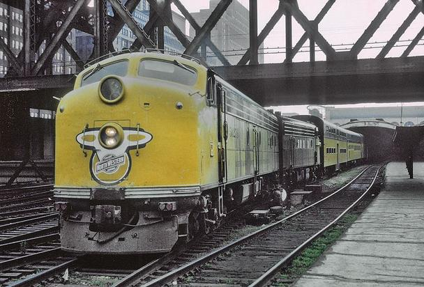 Chicago and North Western EMD E8A No. 5027B at Chicago and North Western Station in July of 1964. Photo by Roger Puta.