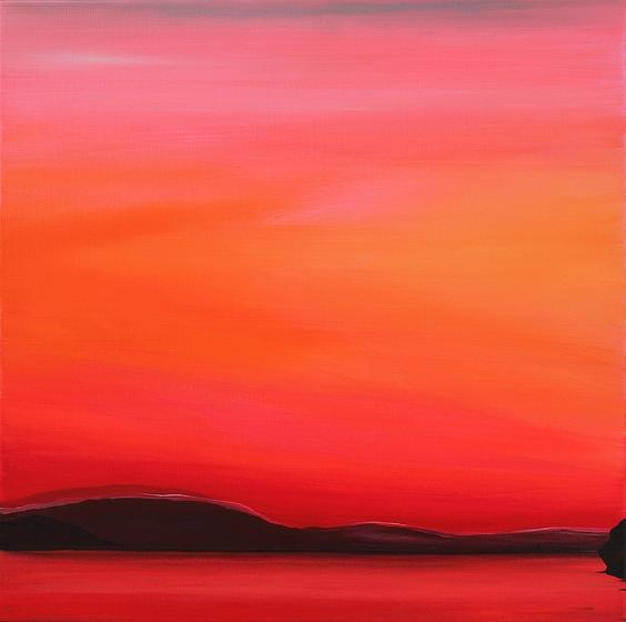 Red Sunset. 60x60cm. Acrylic on canvas, varnished matte. A Lake View painted by Orfhlaith Egan, Berlin and Cornamona.