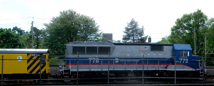 Staten Island Railway BL20G No. 778 leading a work train at Clifton Yard, May 2, 2010. Photo by Jim Henderson.