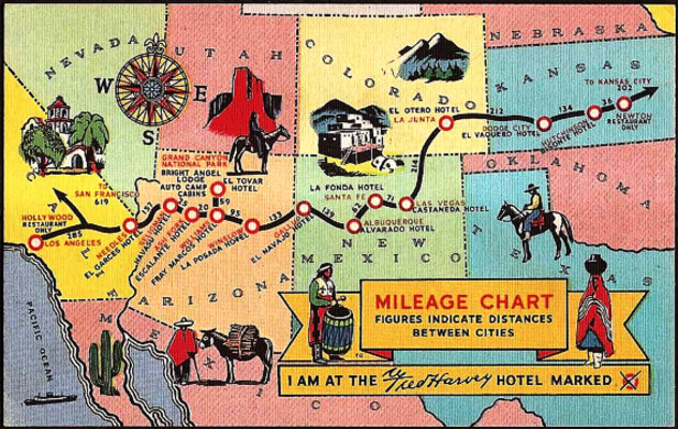 "The Fred Harvey ""all purose"" postcard. Just mark the hotel where your at."