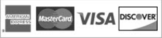 Credit Cards Accepted AMEX Mastercard Visa and Discover