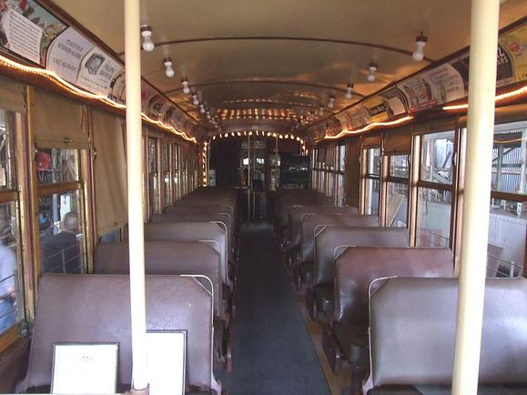 Inside the historic Trolley Car No. 116 . The restored 1928 trolley served the Phoenix trolley system until 1947.