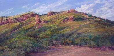 "Sunwashed Afternoon, a Davis Mountains ranchland painting by Lindy Cook Severns. 6"" x 12"" pastel for sale"