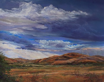 Afternoon Showers, original plein aire pastel of Davis Mountains ranchland by Texas painter Lindy Cook Severns, Old Spanish Trail Studio, Fort Davis, TX