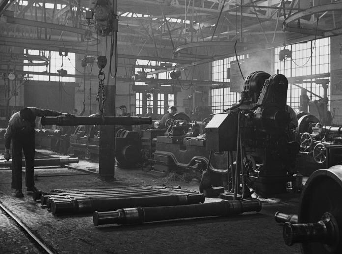 Machinists working in a repair shop of the Illinois Central Railroad, 1942.