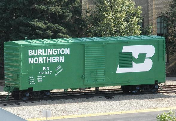 A 40-foot boxcar of Burlington Northern vintage on display at Bandana Square.