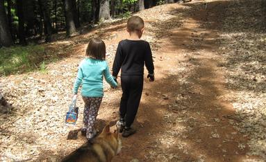 Young children, brother and sister, holding hands while on a hike with their dog