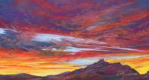 Lighting the Desert Night pastel miniature by Lindy Cook Severns, Big Bend Artist Fort Davis TX. Sunset in Terlingua
