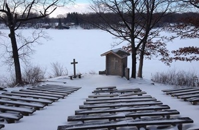 Winter, Island church, Sylvan Lake, Indiana