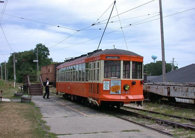 Ex-Milwaukee streetcar 846 (built in 1920 by the St. Louis Car Company) on the East Troy Electric Railroad, in East Troy, Wisconsin, in 2006.
