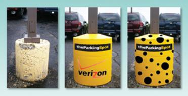 A crumbling cement light pole base transformed into a product message with a light pole base cover and graphic wrap.