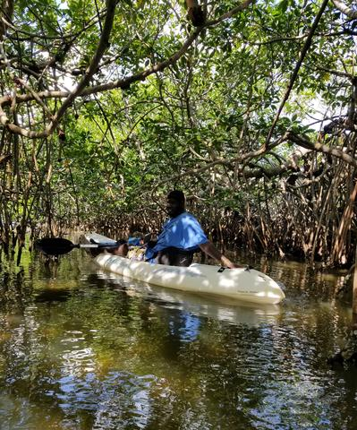 A Belize guide floats through mangroves in a kayak towards an isolated Creole village. Belize Adventure Tours!