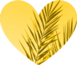 Yellow heart with palm fronds. Siesta Bungalows logo.