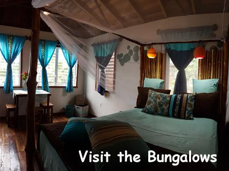 A queen sized bed is dressed in turquoise and gold linens inside the Driftwood Bungalow at Leaning Palm Resort in Belize. Belize Beach Vacations