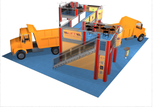 Double deck 50 x 40 trade show booth for Lift Hauling company overhead view.