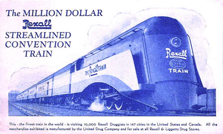 Rexall Train Postcard 1936.