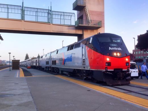 The Coast Starlight Train No. 11 at Emeryville, California, January 25, 2014. Photo by Clay Gilliland.
