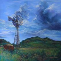 Windmill against a blue Texas sky in this pastel landscape painting A Breath of Wind, A Creak of Blades by Texas artist Lindy Cook Severns