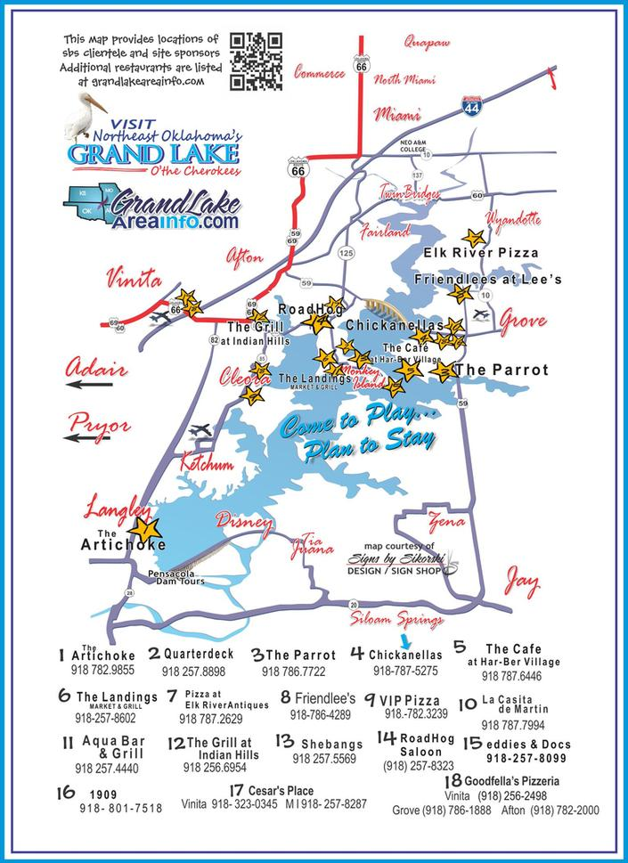 Grand Lake OK restaurants northeast OK map