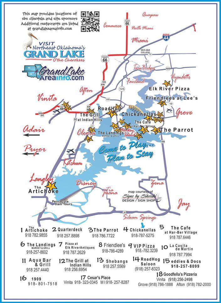 Grove Oklahoma Map.Eateries Grand Lake Ok Restaurants Cafes