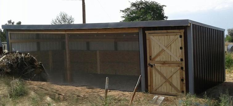 3 sided Shed with tack room
