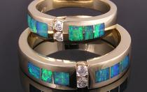 Australian opal wedding ring set with diamonds by Hileman
