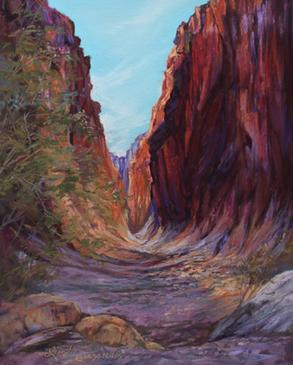 Light Falls, pastel painting of Closed Canyon by Big Bend Artist Lindy C Severns