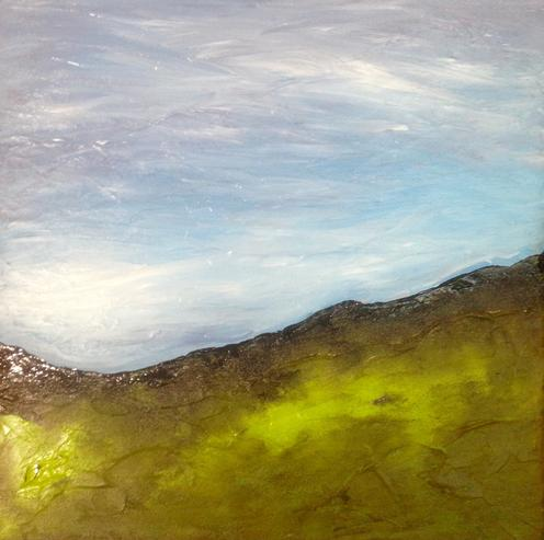 Hungry Hill.40x40cm. Original contemporary acrylic re-imagined landscape painting by Irish artist Orfhlaith Egan. Inspired by the poetry of Irish poet Patrick Kavanagh.