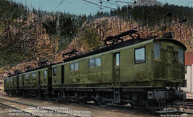Postcard depiction the GE AC Boxcab electric locomotives used by the Great Northern to take trains through the old Cascade Tunnel.