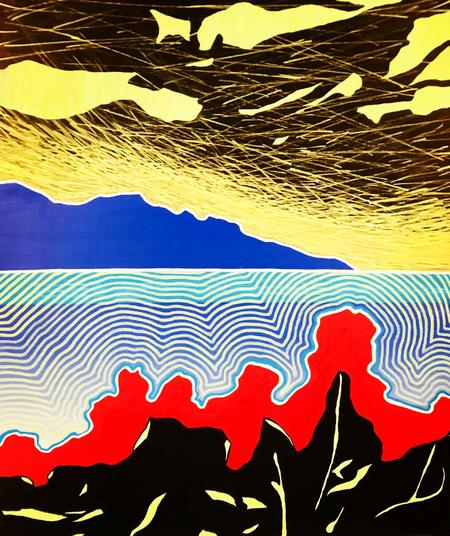 Ripple Effect Otherworld Day Trip Cornamona 2020. 52x44cm. Molotov acrylic markers on wood. Contemporary Irish Landscape Painting by Orfhlaith Egan Berlin