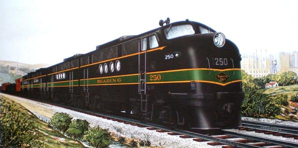 A GM builder's portrait of the Reading Railroads' EMD FT Diesel Locomotive No. 250.