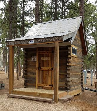 Small Rustic Cabin, Vintage Western Style, wood and metal