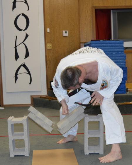 Aaron Sandubrae Shihan Two 2 inch concrete blocks NO SPACERS.