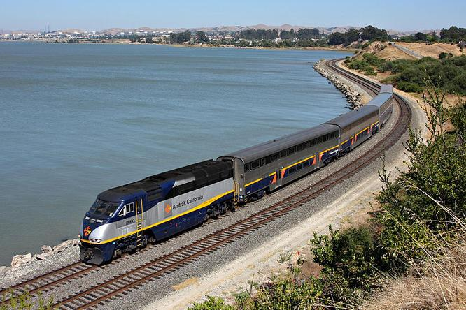 An Amtrak California Capitol Corridor train, at Pinole, California.