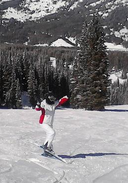 Photo of Jing Liu Dancing on Skis
