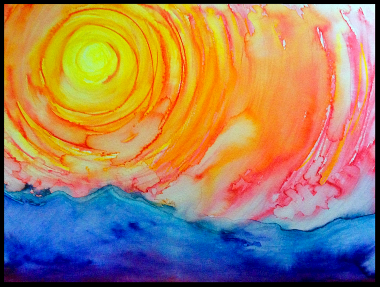 Bleeding Sun. January 2018. Watercolor/Aquarelle on paper. Abstract watercolor landscape painting by Irish artist Orfhlaith Egan.