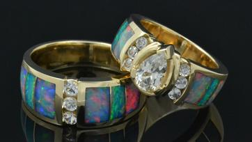 Australian opal wedding rings with white sapphires by Hileman