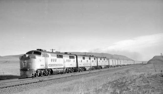 Union Pacific Railroad Train No. 101, City of San Francisco; 15 cars. Photographed: near Cheyenne, Wyoming, December 4, 1948 by Otto Perry.