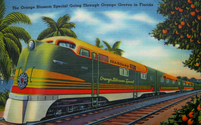 A postcard depicting the train circa 1939; the card describes the train as the only all-electric New York-Florida train.