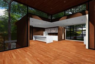 Lee Residence, Usonian Mid Century Renovation, Kirkwood, Missouri great room 3DGreenPlanetArchitects.com